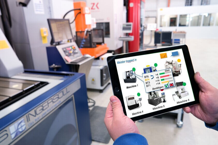 Tablet shows different machines and their processes